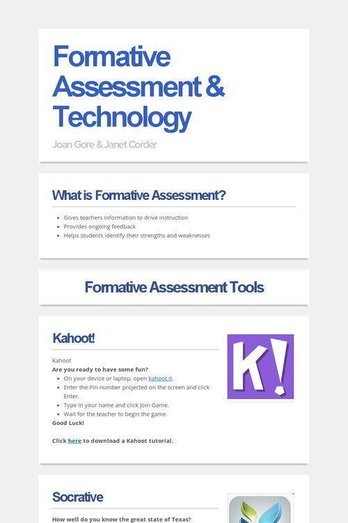 Formative Assessment  Technology School Ideas Pinterest