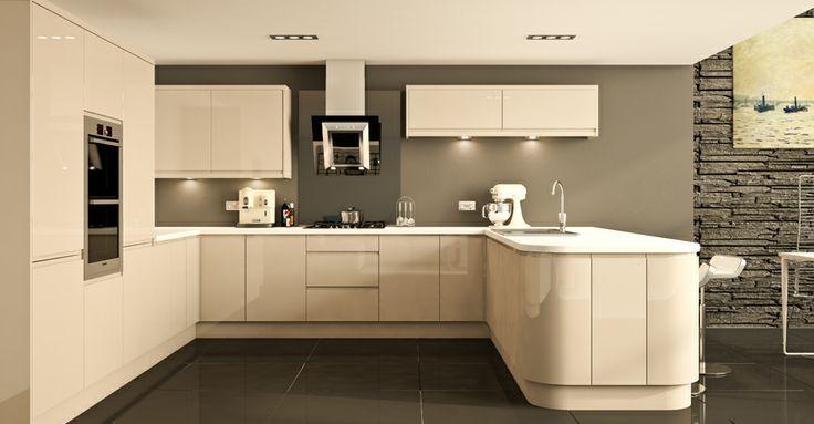 wren kitchen - handleless cashmere gloss | kitchen ideas