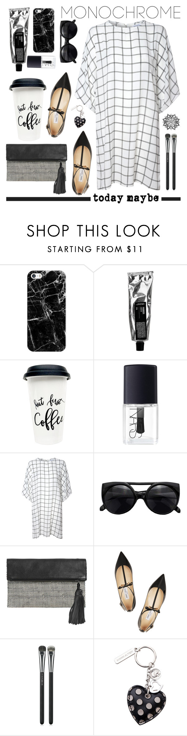 """""""Today maybe"""" by einn-enna ❤ liked on Polyvore featuring Casetify, NARS Cosmetics, Glamorous, BeckSöndergaard, Jimmy Choo, MAC Cosmetics, monochrome, fashionset and polyvorecontest"""