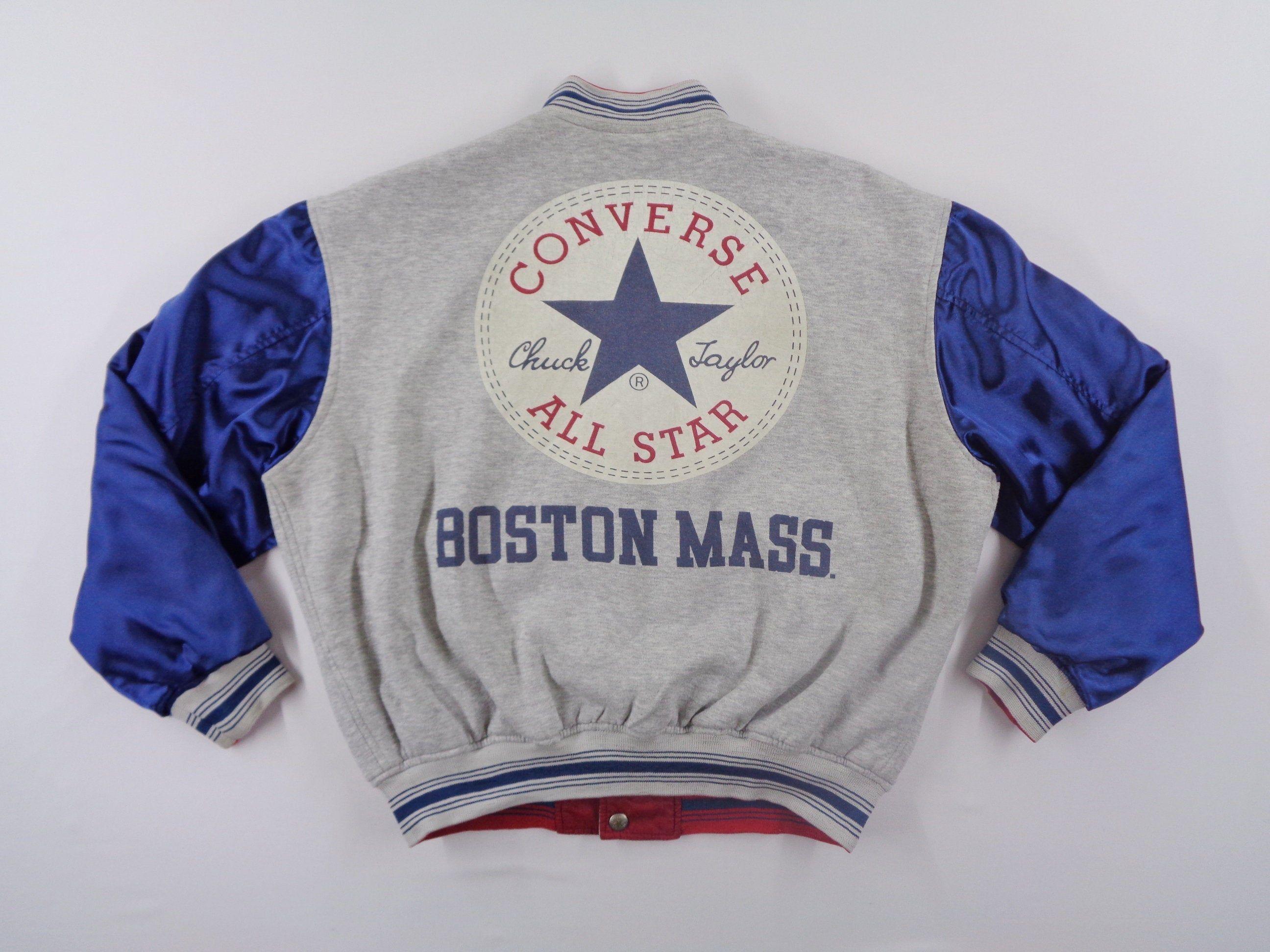 Converse Jacket Vintage Converse All Star Windbreaker Converse All Star Chuck Taylor Boston Mass Big Logo Bomber Jacket In 2020 Converse Jacket Vintage Jacket Jackets