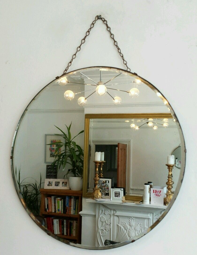 Vintage Beveled Round Mirror Art Deco 1930 S Frameless Antique Circular