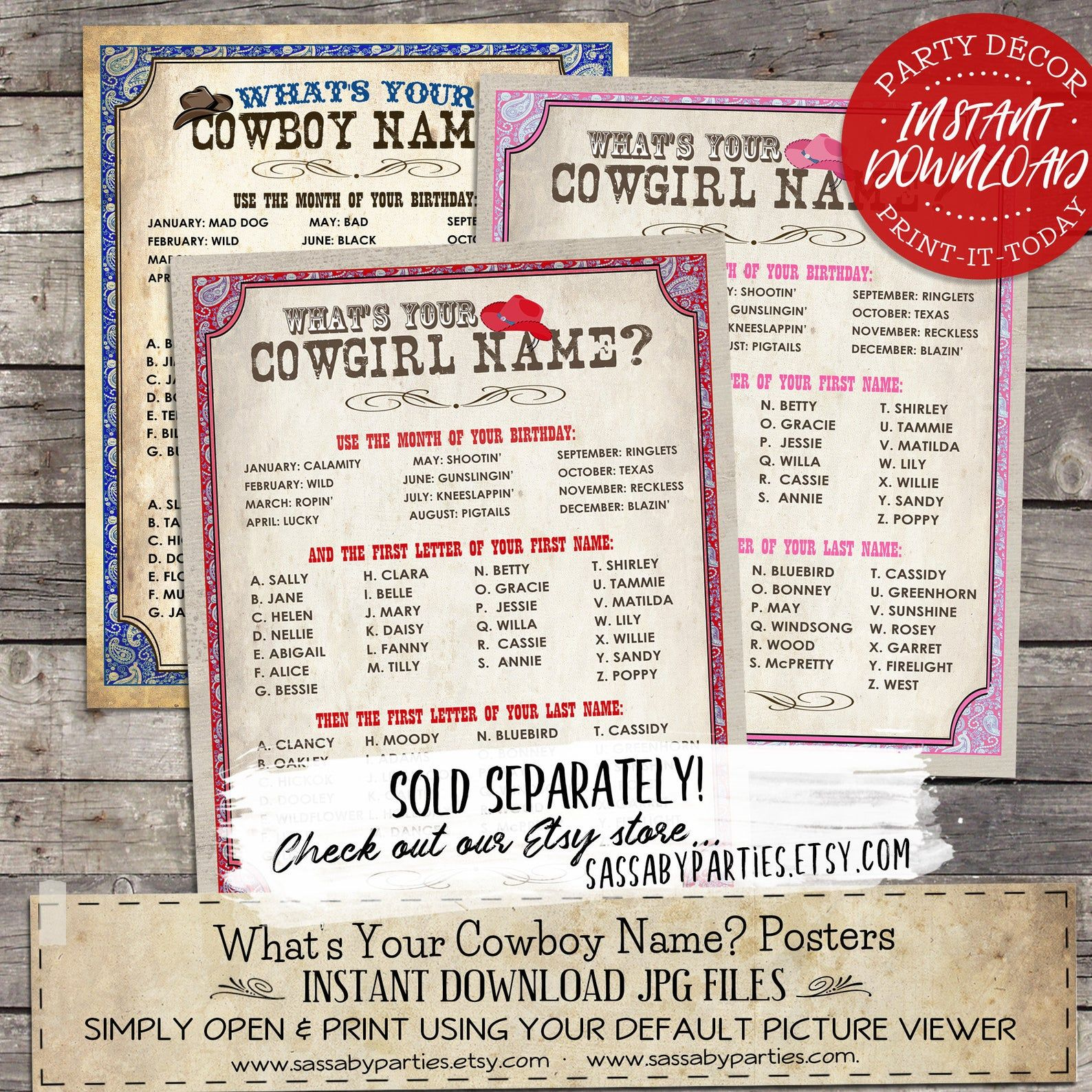 Wild West Cowboy Name Poster Red