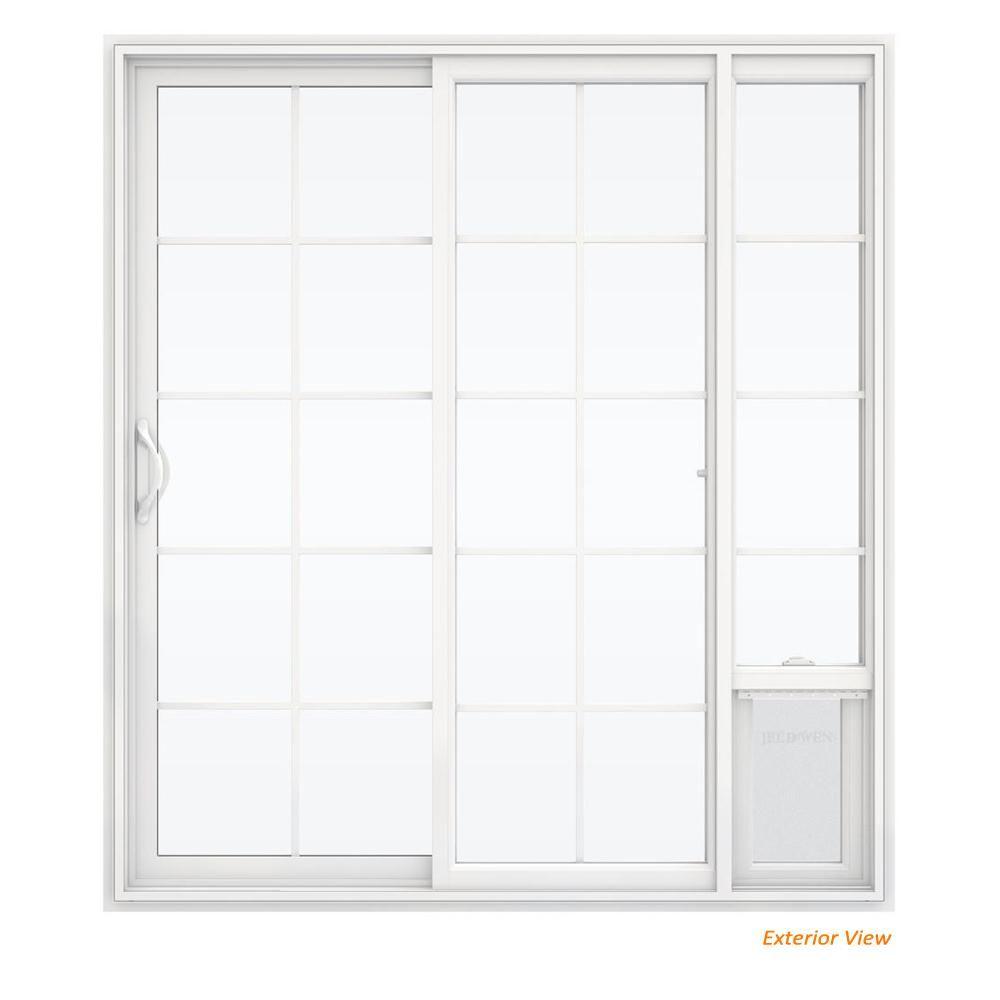 Jeld Wen 72 In X 80 In White Left Hand Vinyl Patio Door With Low E Argon Glass Grids And Large Pet Door Sierra Le Grd 6068 Lpdp Lh Patio Doors Sliding Patio Doors
