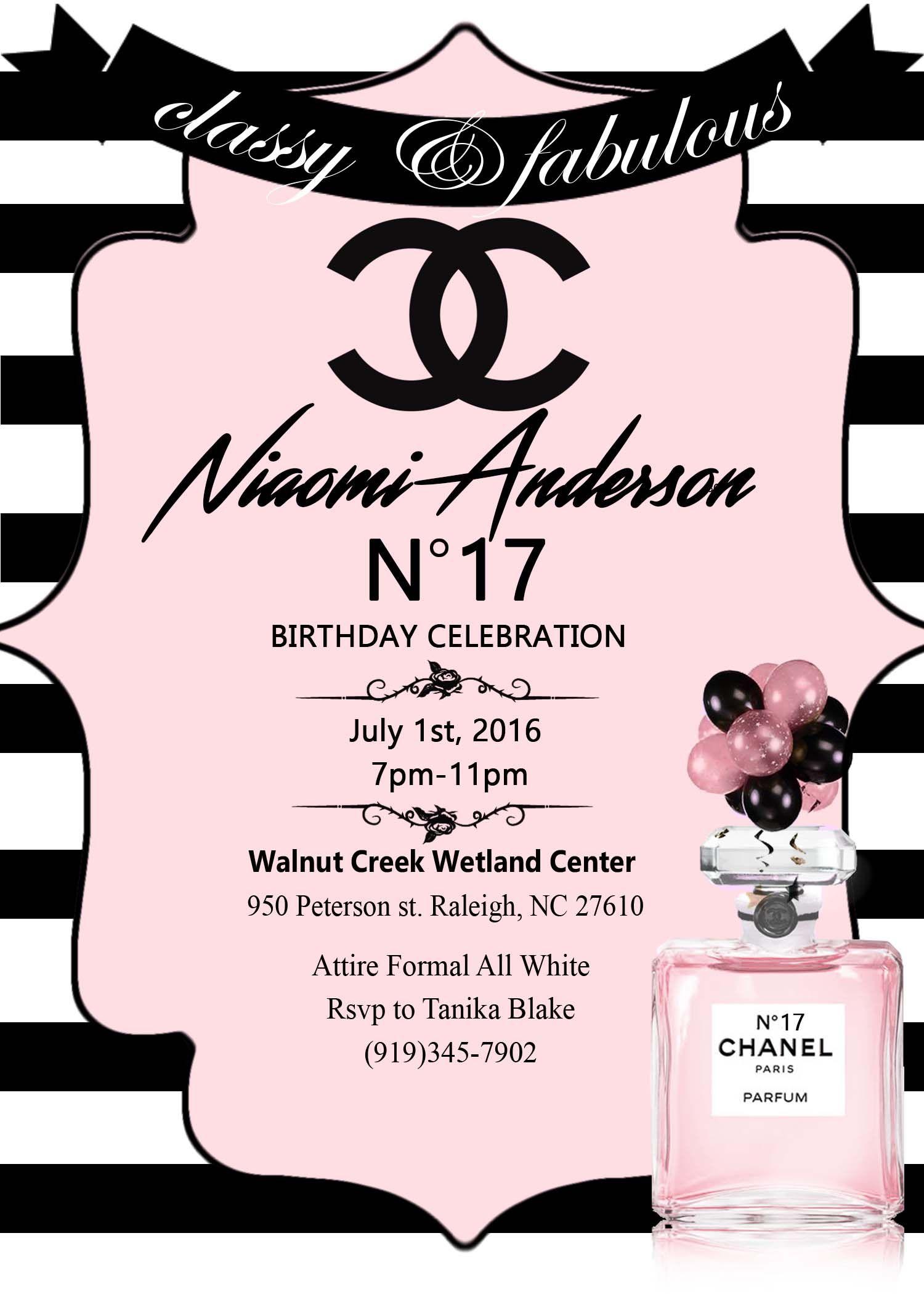 Chanel Birthday invitation printable Chanel Inspired Party