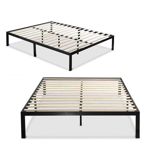 King Size Modern Black Metal Platform Bed Frame With Wooden Slats Metal Beds Metal Platform Bed Box Bed Frame