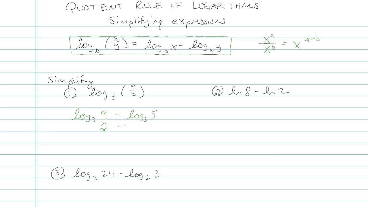 Algebra 2 Quotient Rule Of Logarithms Sample Problem 4 Quotient Rule Log Rules Algebra