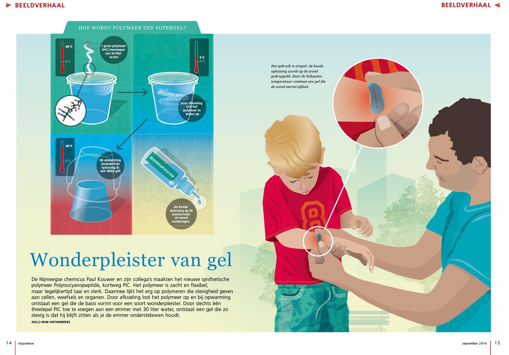 Illustratie voor het blad 'Hypothese' van NWO bij het artikel 'Wonderpleister van gel'.