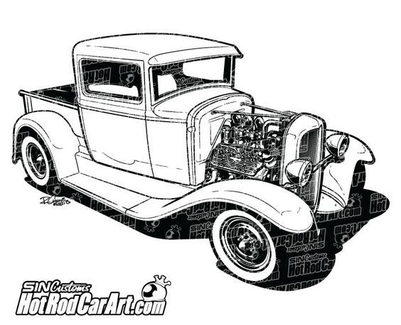 Custom 1932 Ford Pickup with exposed flathead engine