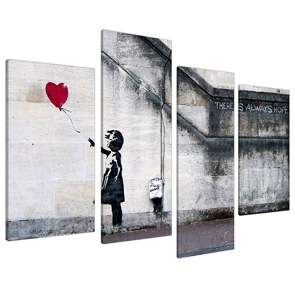 Set of 3 Large Banksy Canvas Wall Art Prints UK Red Balloon Girl 3050