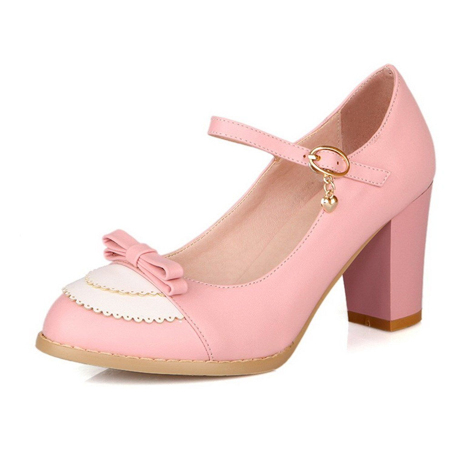 44d2123b953 AmoonyFashion Womens Closed Round Toe Kitten Heel PU Assorted Colors Pumps  with Bowknot and Buckle     Read more at the image link.