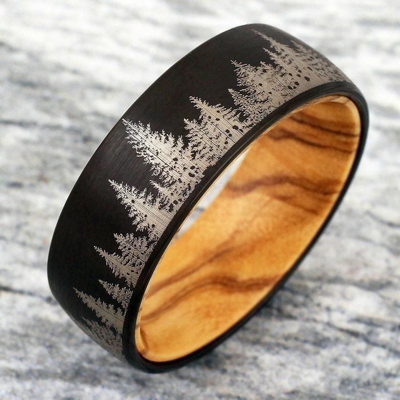 Tungsten Forest Ring Forest Landscape Ring Tungsten Wedding Band Forest Ring Mens Wooden Ring Mens Wedding Band Promise Silver Tungsten Ring