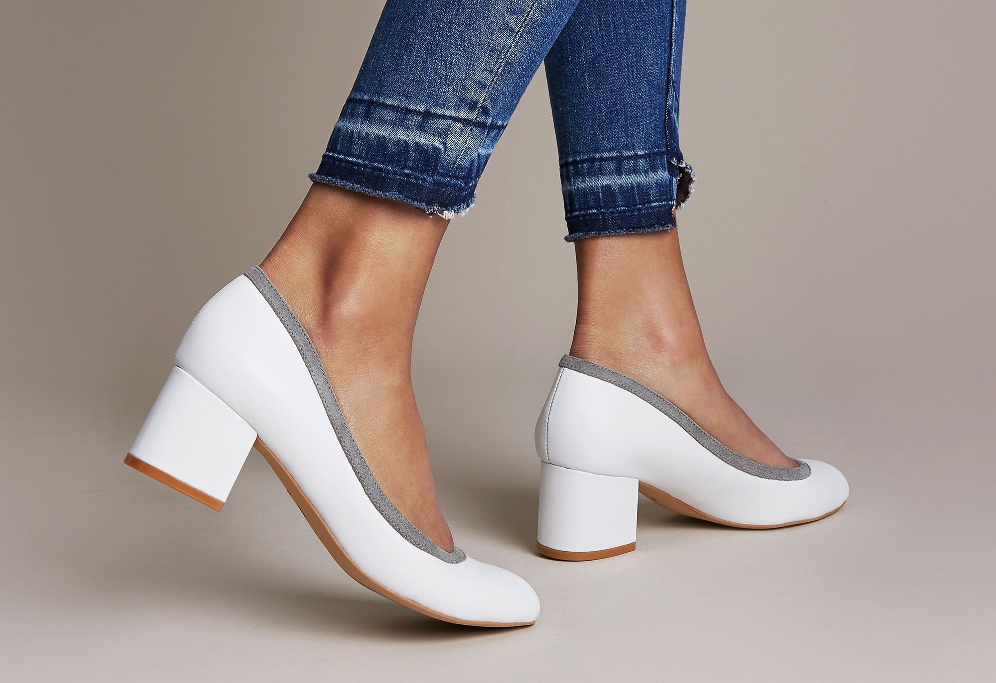 White leather wide fitting low block