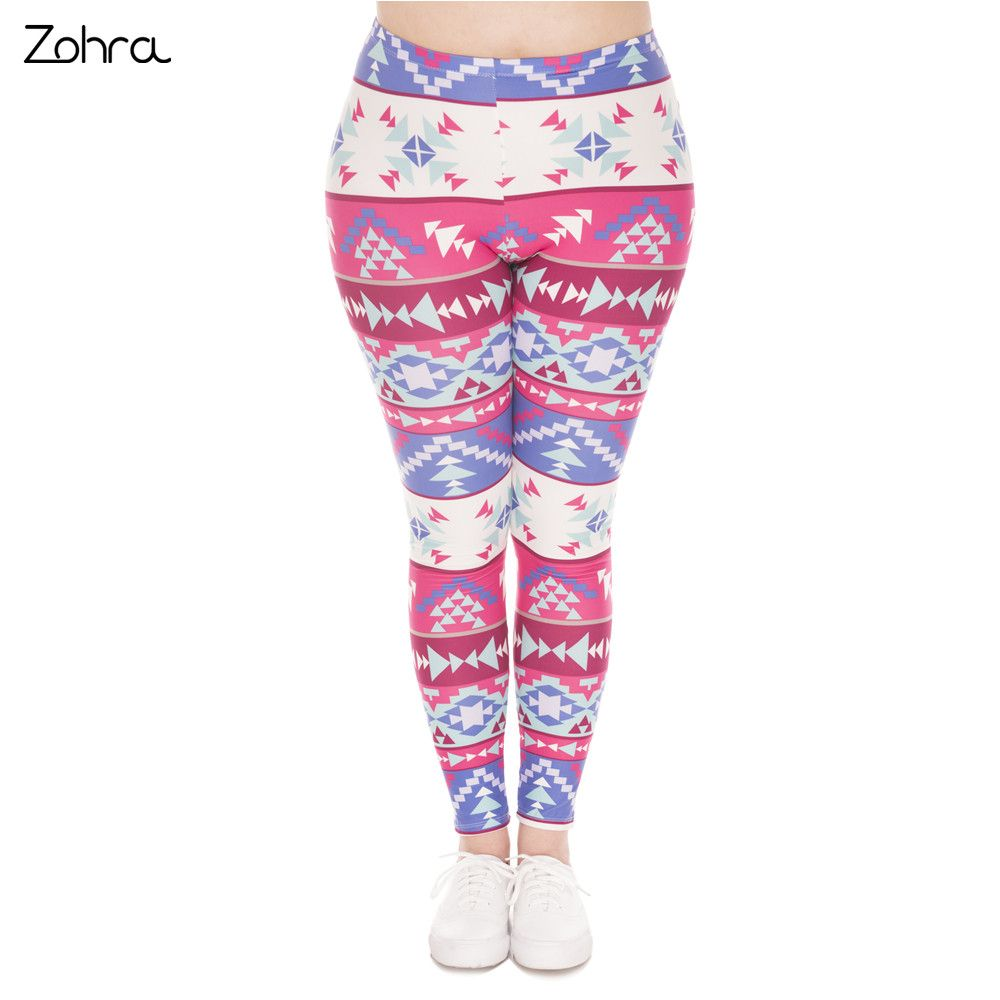 14370ff6c36 Zohra Summer Fashion Large Size Leggings Boho Pink Printed High Waist  Leggins Plus Size Trousers Stretch Pants For Plump Women   Price   15.95    FREE ...
