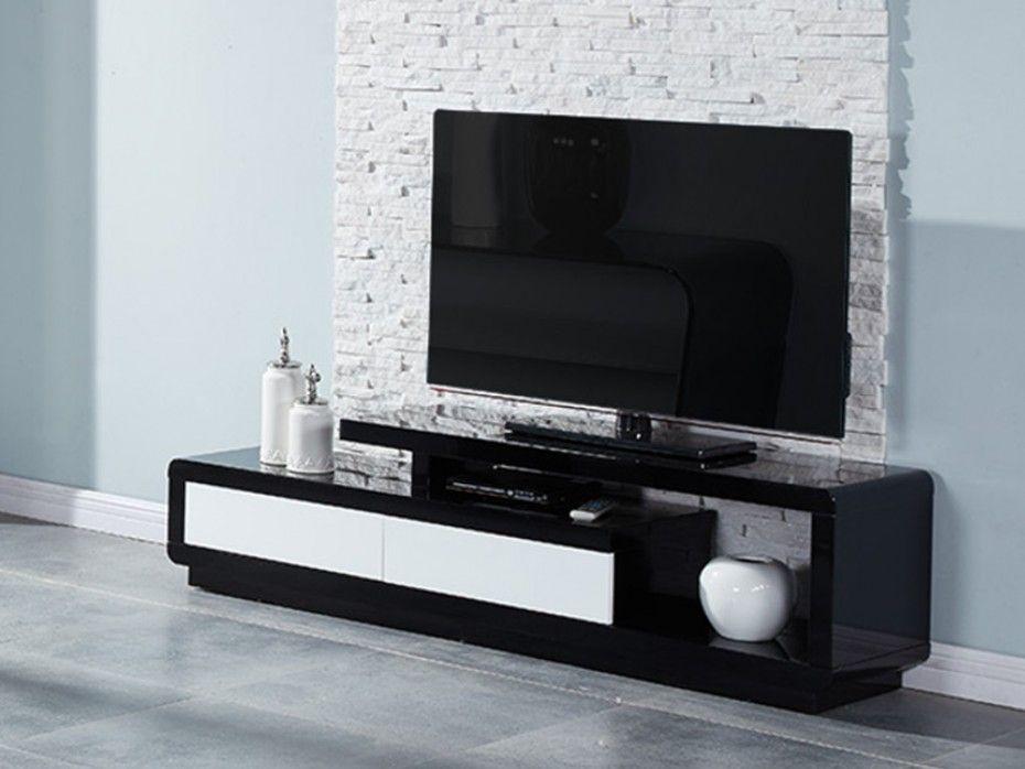 meuble tv artaban 2 tiroirs mdf laqu noir blanc - Meuble Tv Living