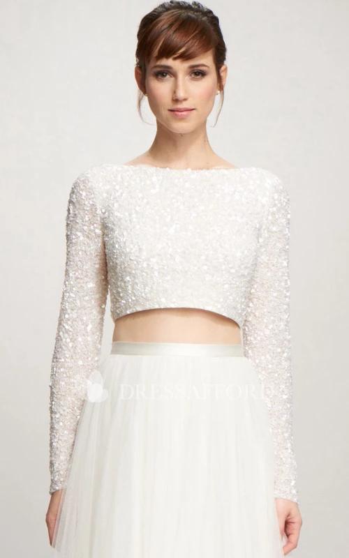 Long Sleeve Beaded Floor Length Two Piece Dress With Low V Back In 2020 Brautkleid Lange Armel Armelhochzeitskleider Zweiteiliges Hochzeitskleid
