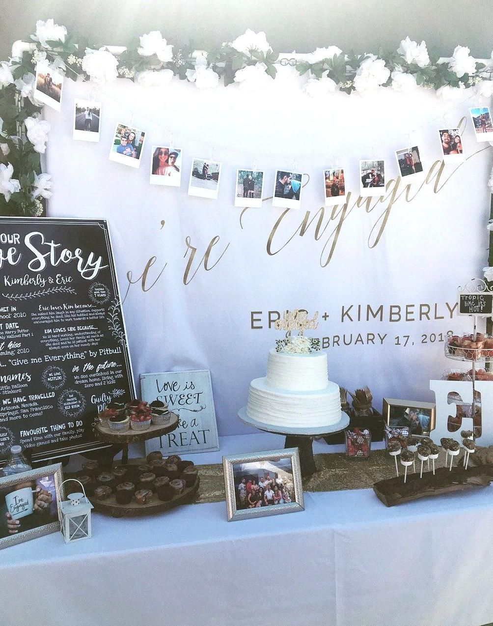 Were Engaged Amazing Table Decoration For Your Engagement Party Shop Our Engagement Party Decorations Engagement Party Decorations Diy Engagement Party Table Diy backyard engagement party