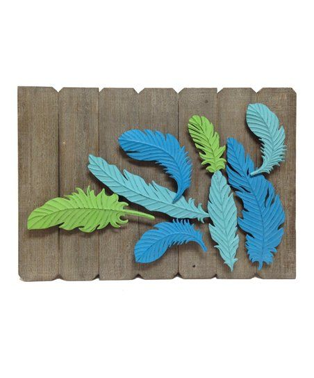 Uplighitng To Accent Wood Slat Wall: Stamped Metal Feather & Wood Slat Wall Décor