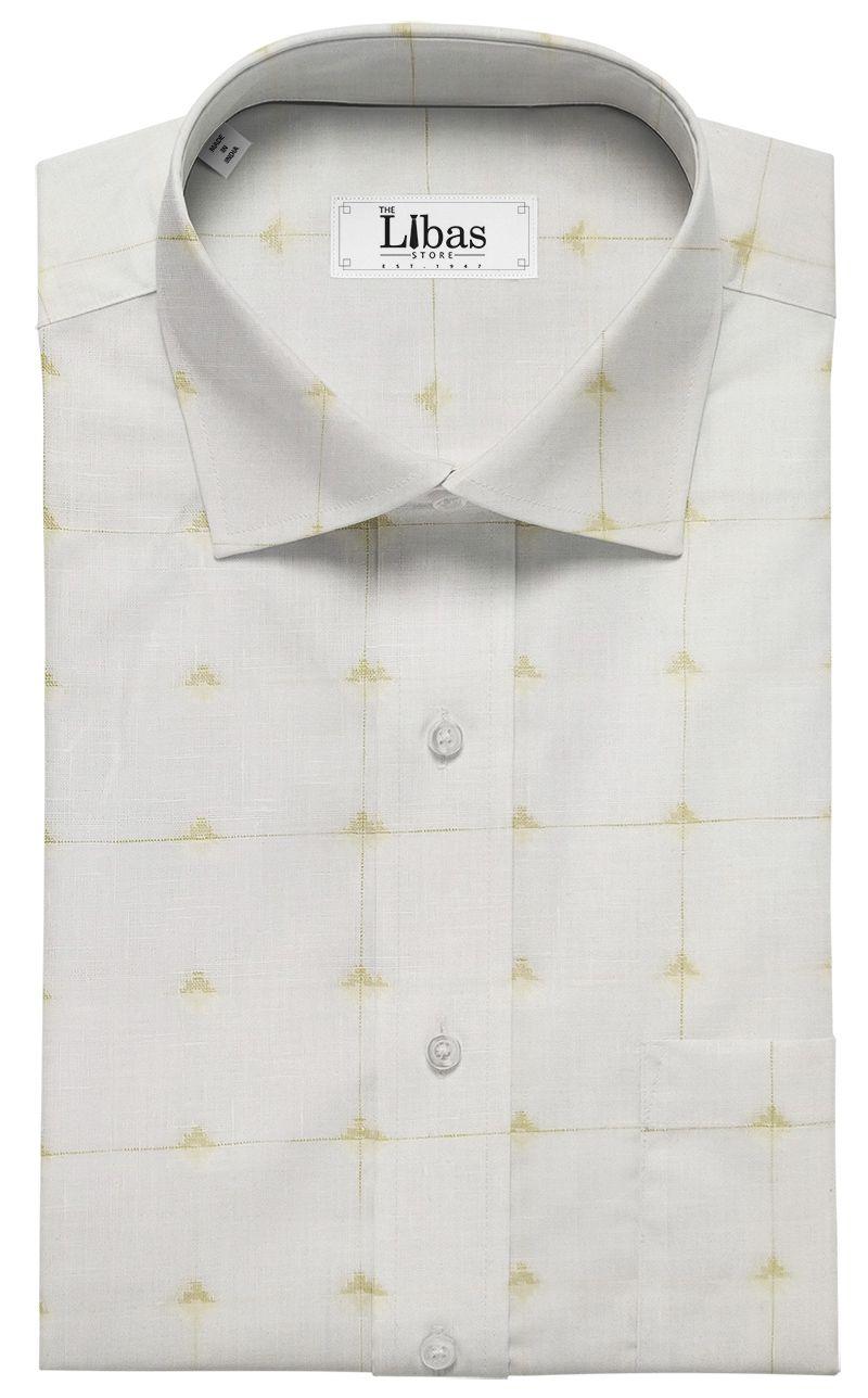 7232803f2ed Raymond Men s White 70 LEA Pure Linen Beige Dobby Unstitched Shirting Fabric