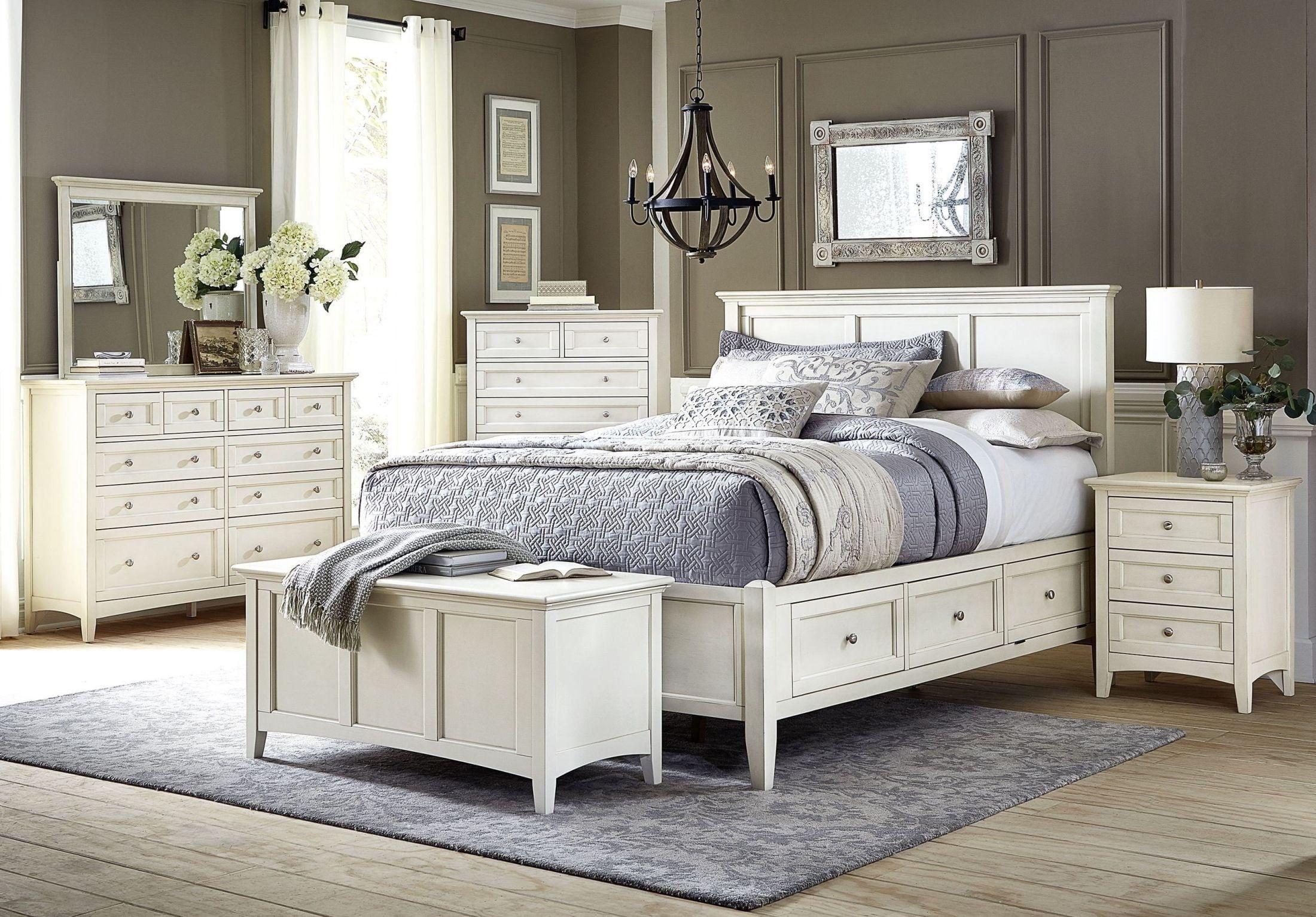 Hancock Park Wood Panel Bed in Vintage White by Magnussen