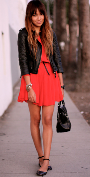 red dress & leather | First date outfits, Style, Fashion