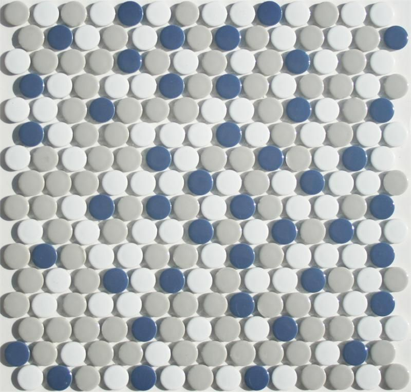 In The Navy Penny Tile Round Mosaic Blend By Lyric Pop
