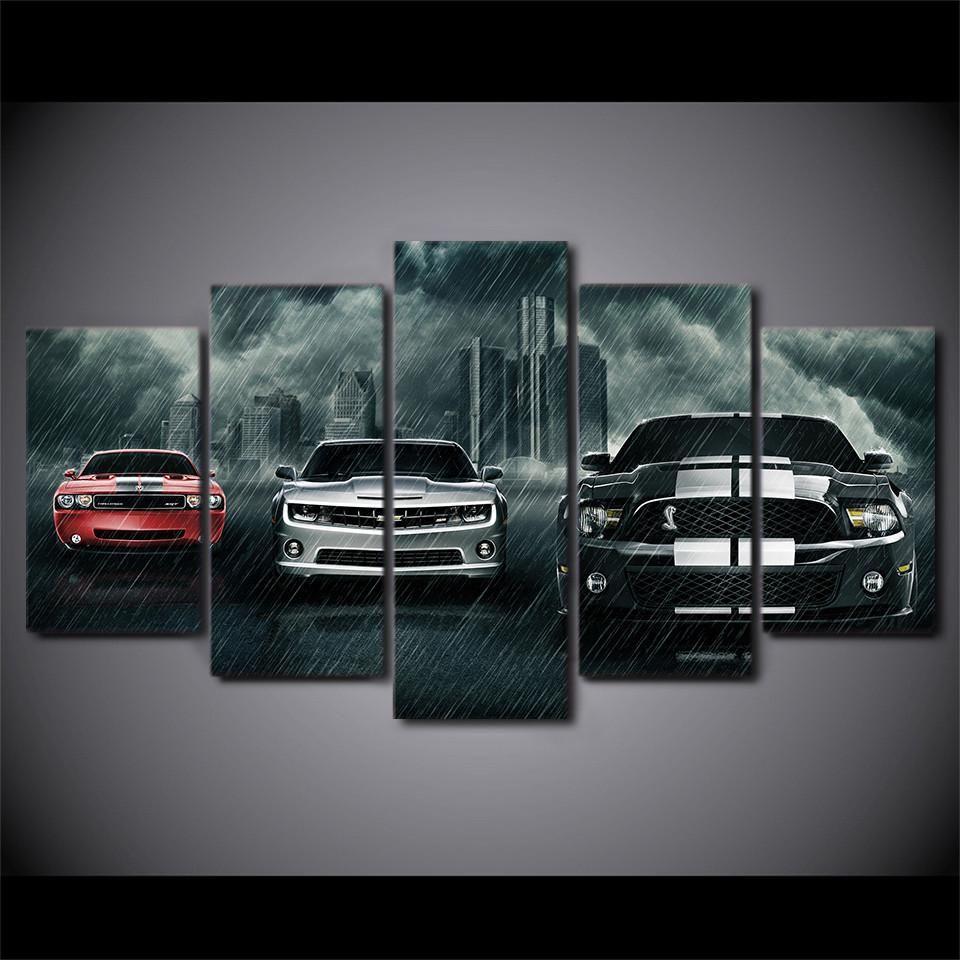5 Piece Canvas Art Muscle Cars Mustang Challenger Camaro Car
