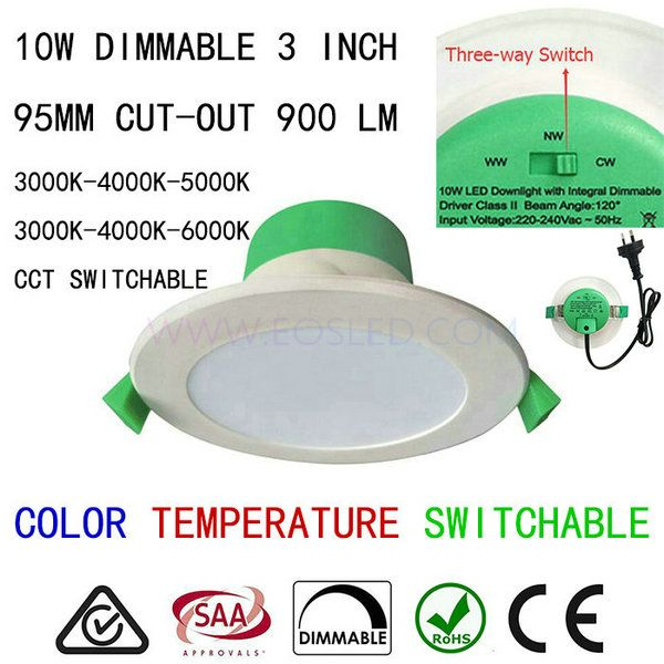 LED change color temperature downlight 10W dimmable CCT switchable ...