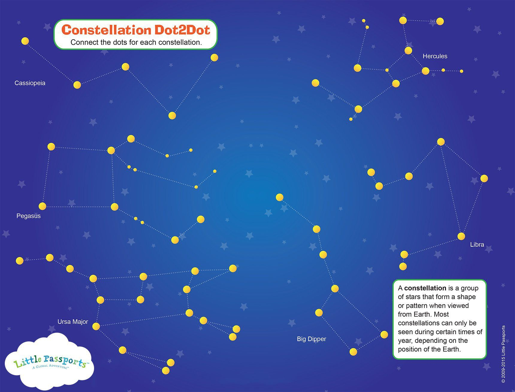 Free Printable Constellation Activity Sheet - In The Playroom    Constellation activities [ 1308 x 1719 Pixel ]