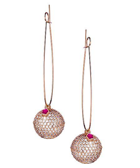 Pave Ball Hook Threader Earrings