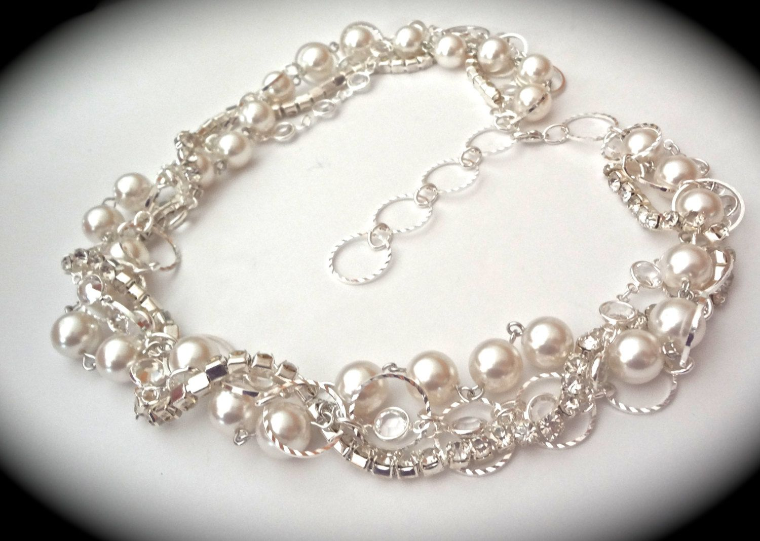 White pearl bridal set Chunky Crystal by QueenMeJewelryLLC ...