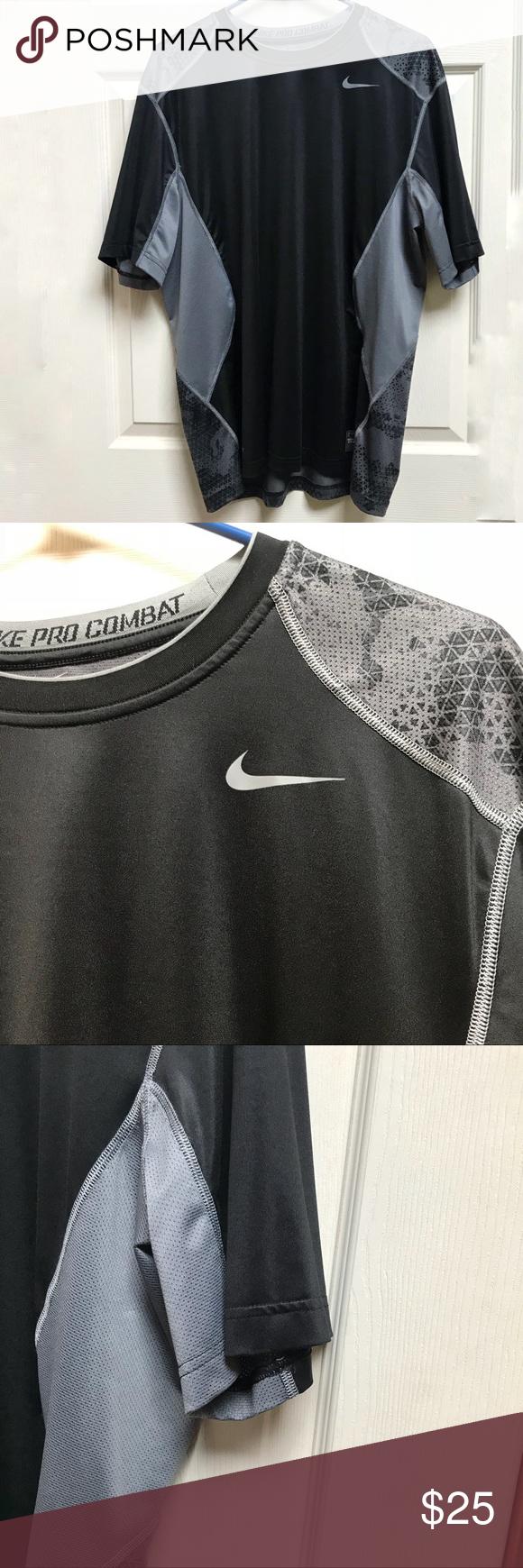 Nike Pro Combat Black Gray Short Sleeved Shirt Nike Pro Combat Grey Shorts Short Sleeve Shirt [ 1740 x 580 Pixel ]