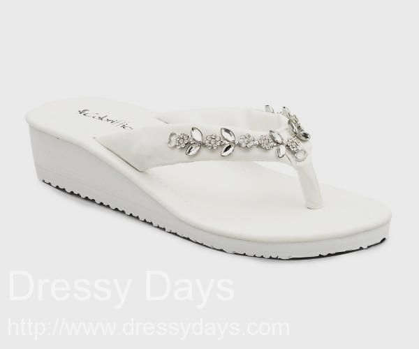 Hilary White Cushion Flip Flop Sandals with Rhinestone T-Strap : CS0363