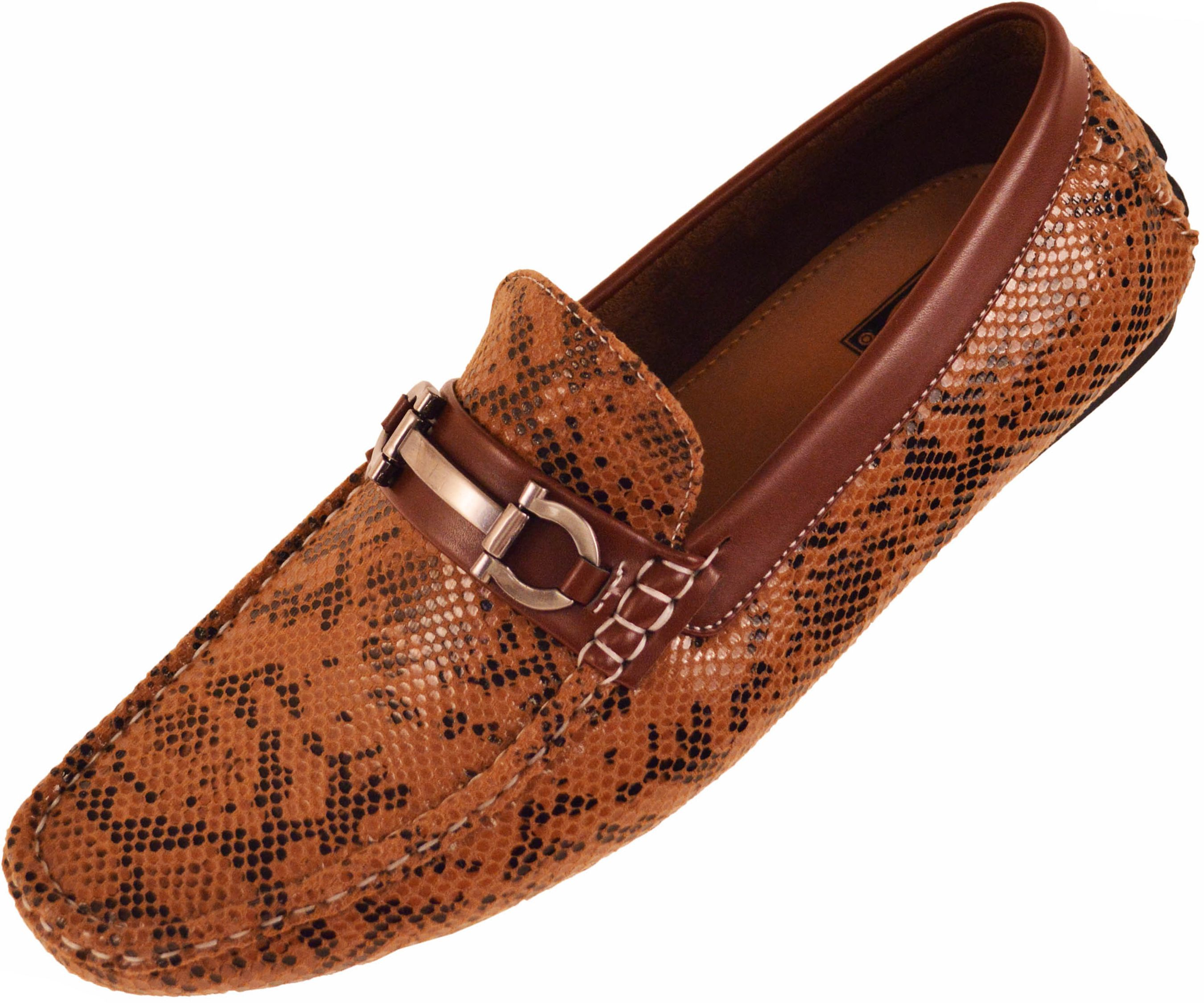 d4545d94335 Amali Mens Driving Moccasin Loafer in Brown Snake Skin Print with ...
