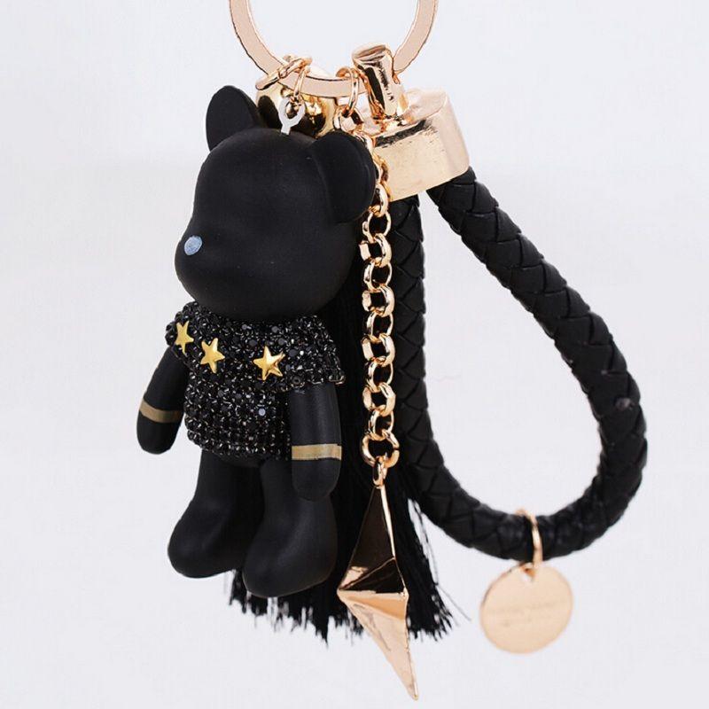 Cute Teddy Bear Leather Tassel Key Ring Charm Keychain Keyring Children Gift
