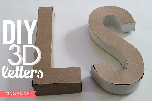 Cinsarah: DIY 3D Letters - made from cereal boxes!