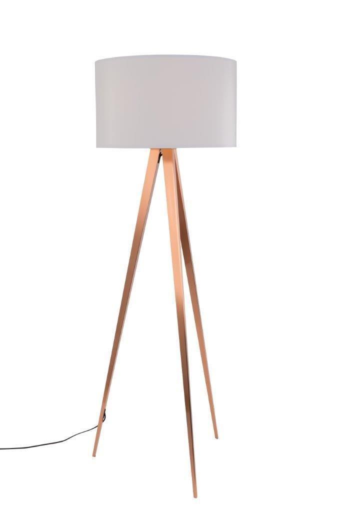 Zuiver Tripod Copper Kupfer Stehleuchte Schirm Weiss Design Leuchten Lampen Beleuchtung