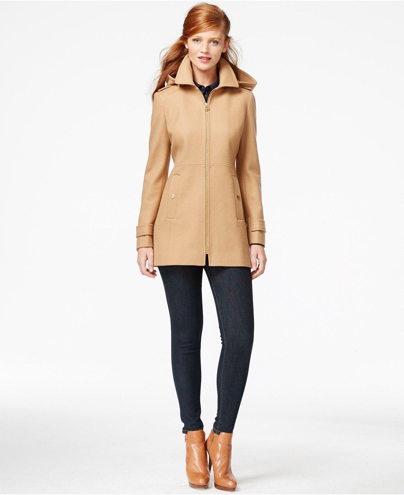 Michael Michael Kors Hooded Zip Front Peacoat Michael Kors Coats Coats For Women Winter Coats Women [ 1616 x 1320 Pixel ]