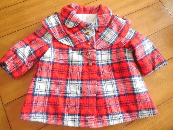 3eb440a33450 Size 18-24 month Toddler Boys Girls Vintage Red Plaid crop swing ...