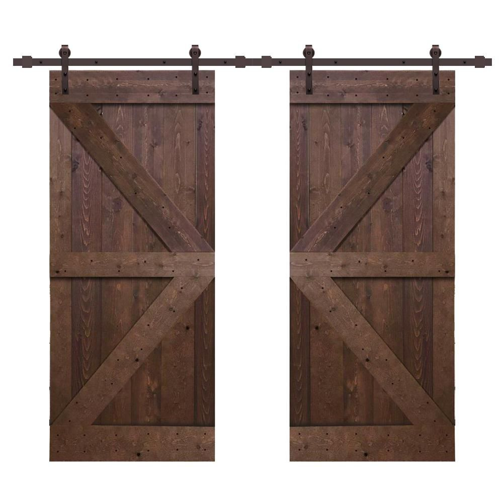 Calhome Distressed K Series 36 In X 84 In Walnut Solid Knotty Pine Wood Double Interior Sliding Barn Door With Hardware Kit Swd11 Ab 79 2 Dr Diy K36b 2 Cnnt In 2020 Interior Sliding Barn Doors Barn Door Barn