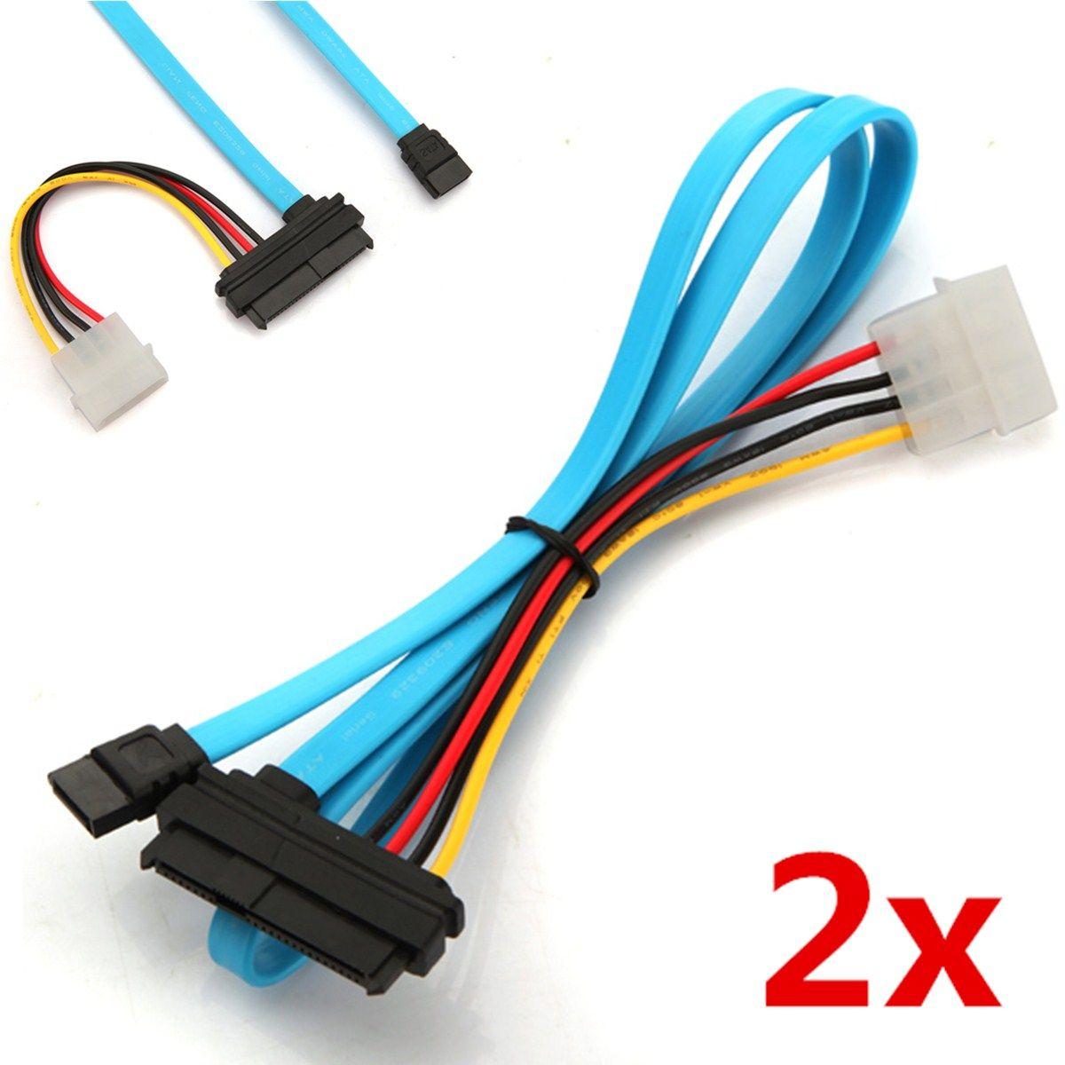 2 pcs 7 Pin SATA Serial Female ATA to SAS 29 Pin Connector Cable & 4 ...
