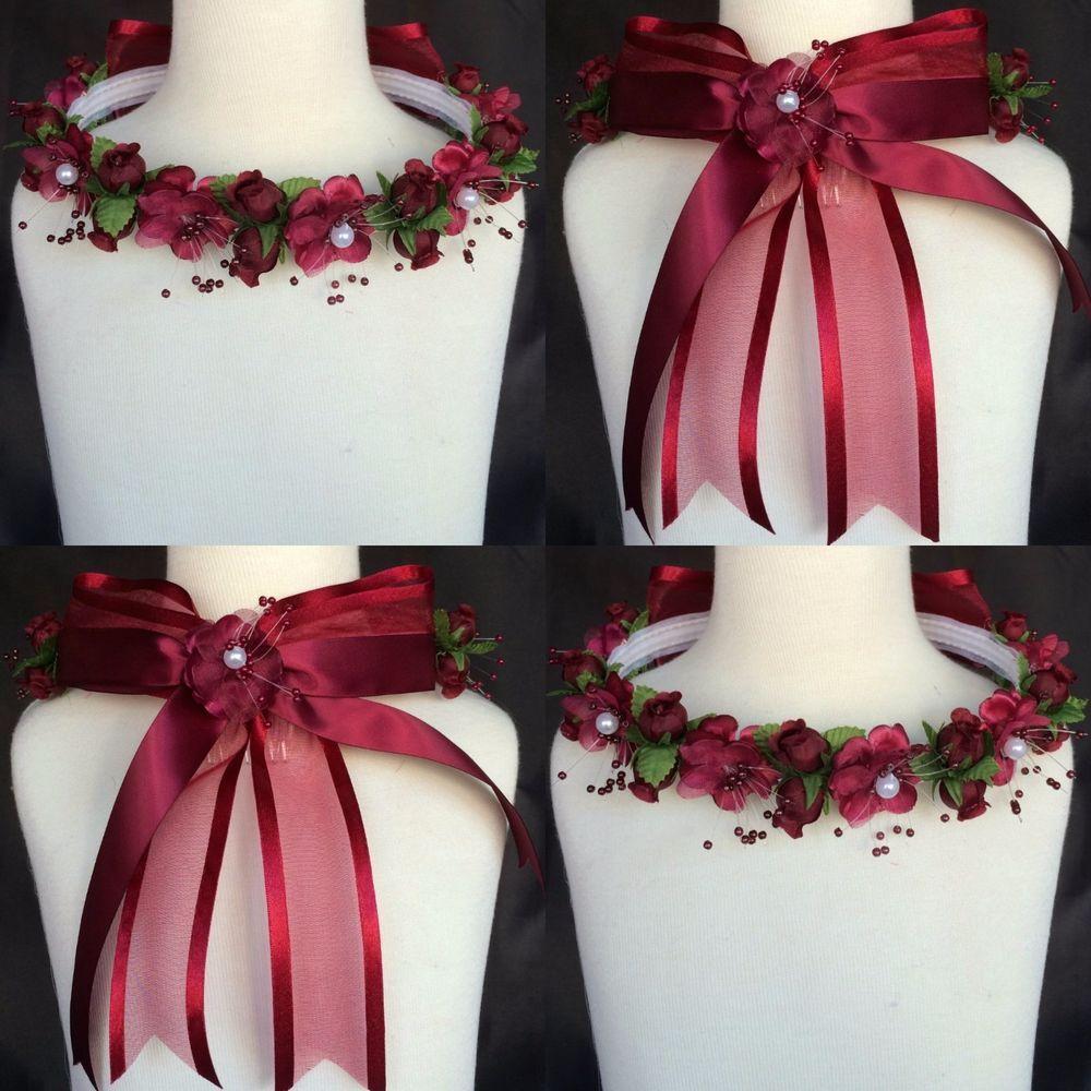 Burgundy flower pearl halo crown headpiece headband flower