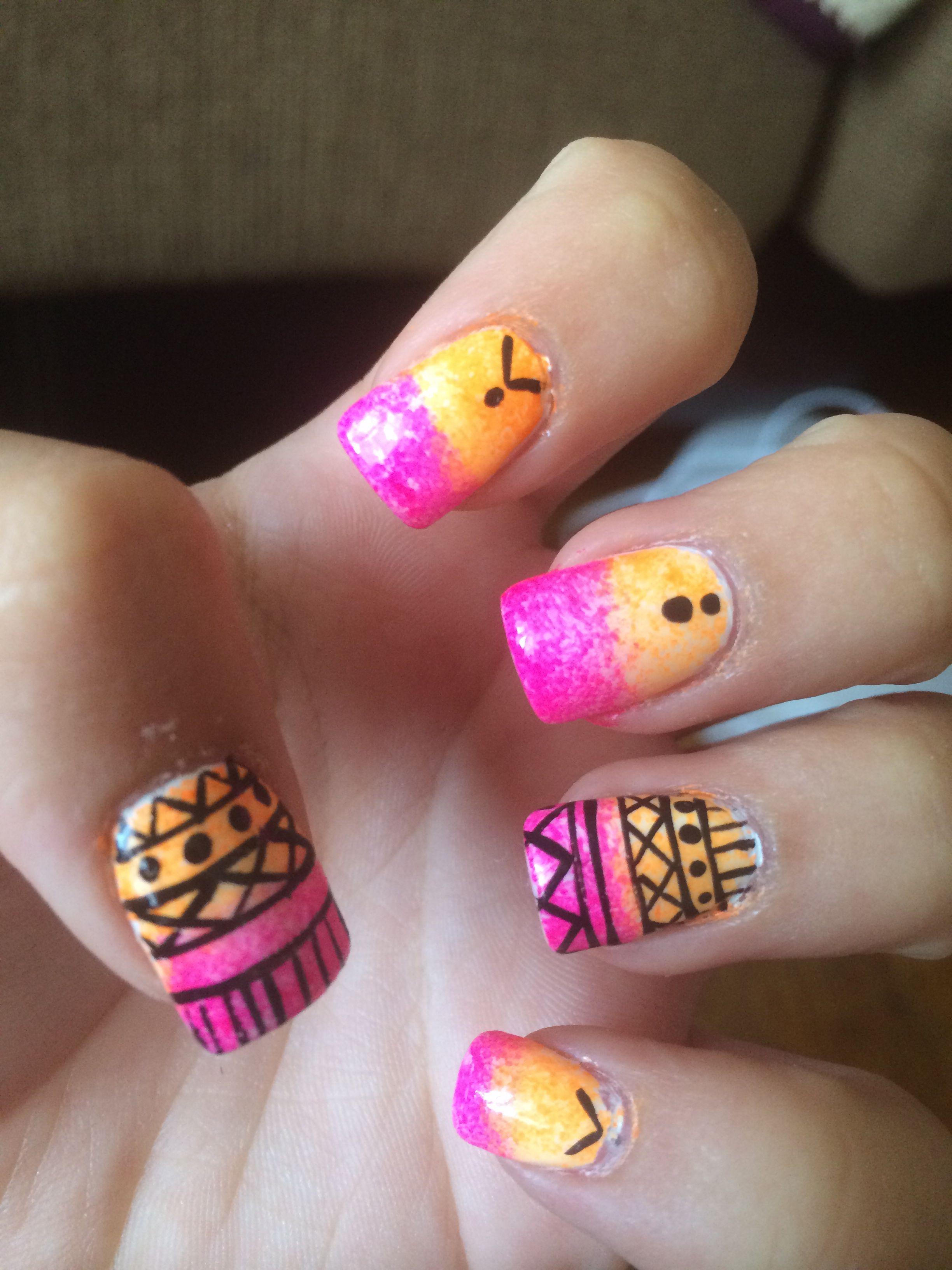 pink/orange ombré w/ Aztec designs.. Done at studio nails in Linden ...