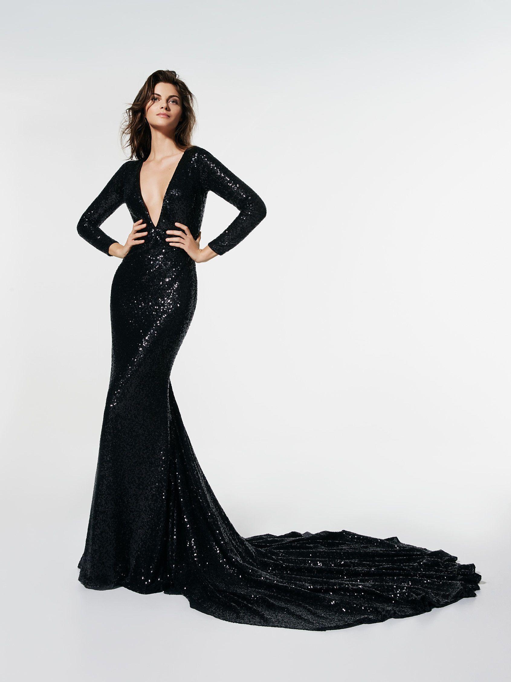 Langes kleid mit armeln schwarz