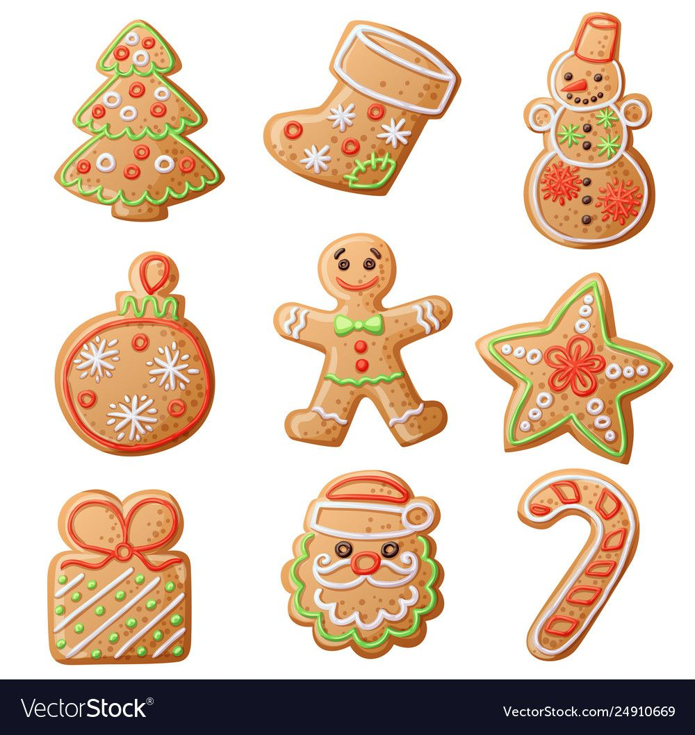 Gingerbread cookies set isolated on white vector image on