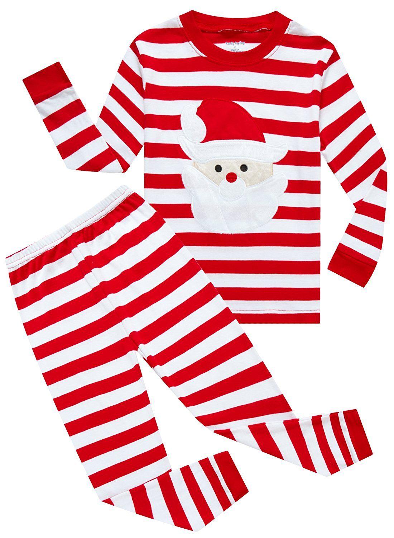 amazoncom family feeling little boys girls red stripe christmas pjs cotton pajama sets clothing