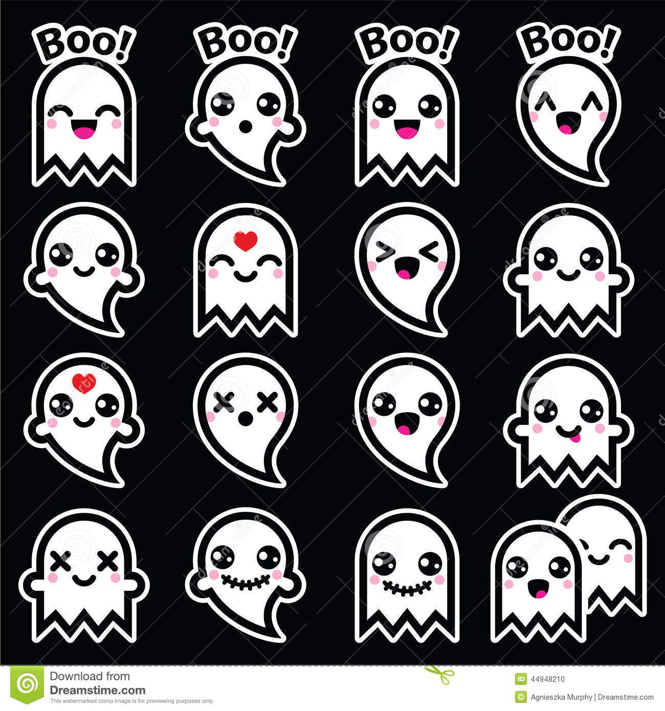 Image result for kawaii ghost Halloween icons