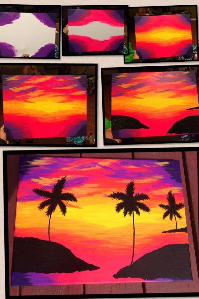 Neon Sonnenuntergang Sonnenuntergang Malen Malerei Und Zeichnungen