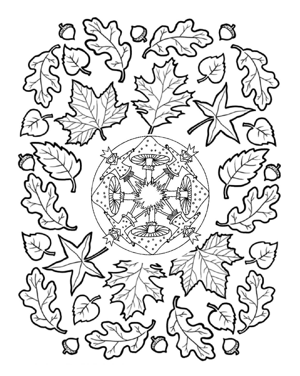 Mandala Paddenstoelen Herfstbladeren Mandala Kleurplaten Herfstbladeren Herfst Halloween