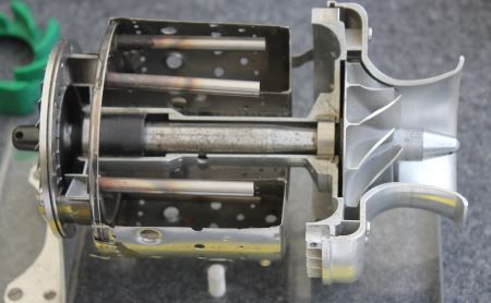 Section through a KJ66 model gas turbine engine | jet engine