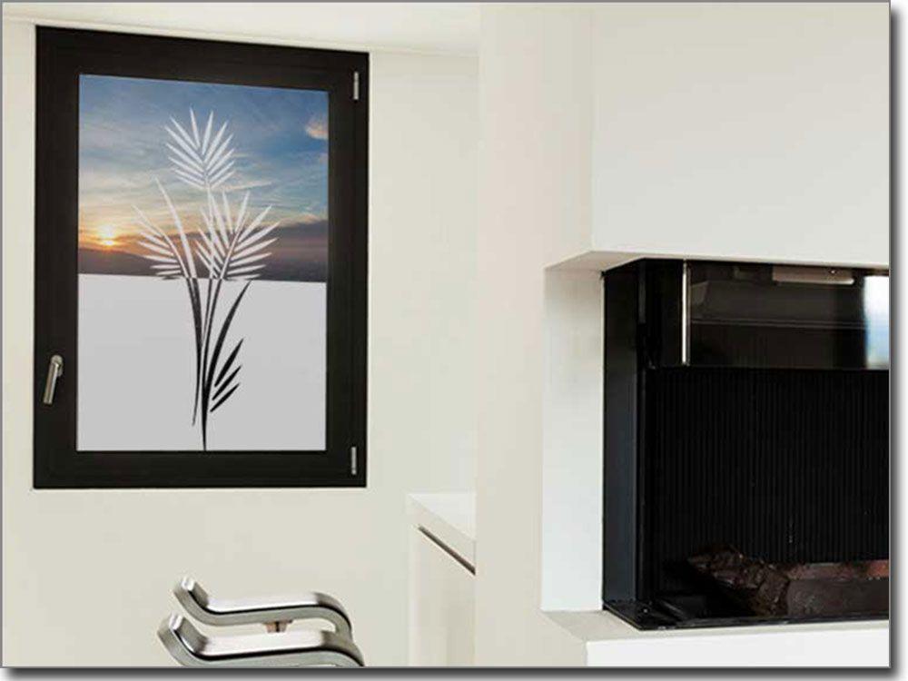 Aufkleber Folie für Glas Palmenzweig Sichtschutzfolie Pflanzen - folie für badezimmerfenster